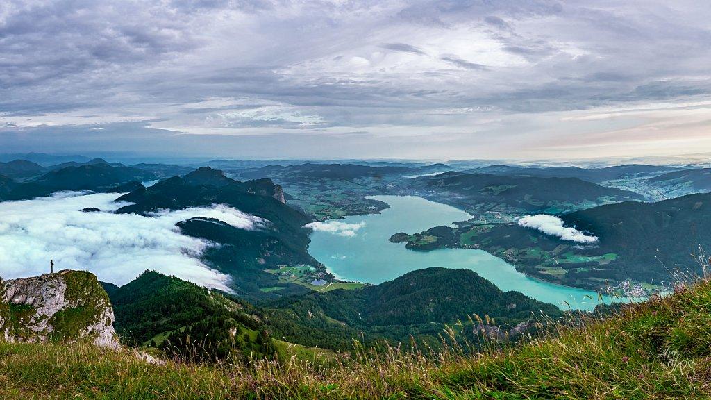 """Sea of clouds at the lake"""